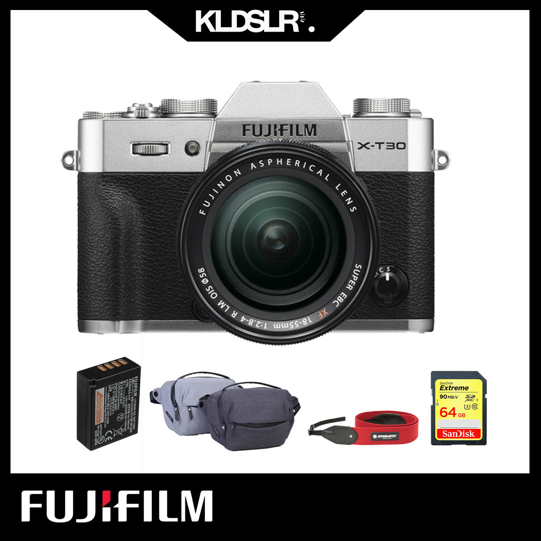 FUJIFILM X-T30  with 18-55mm Lens (Silver)(FREEGIFT : XJ 5L  sling bag , 64Gb extreme , extra battery and artisan N artist strap)