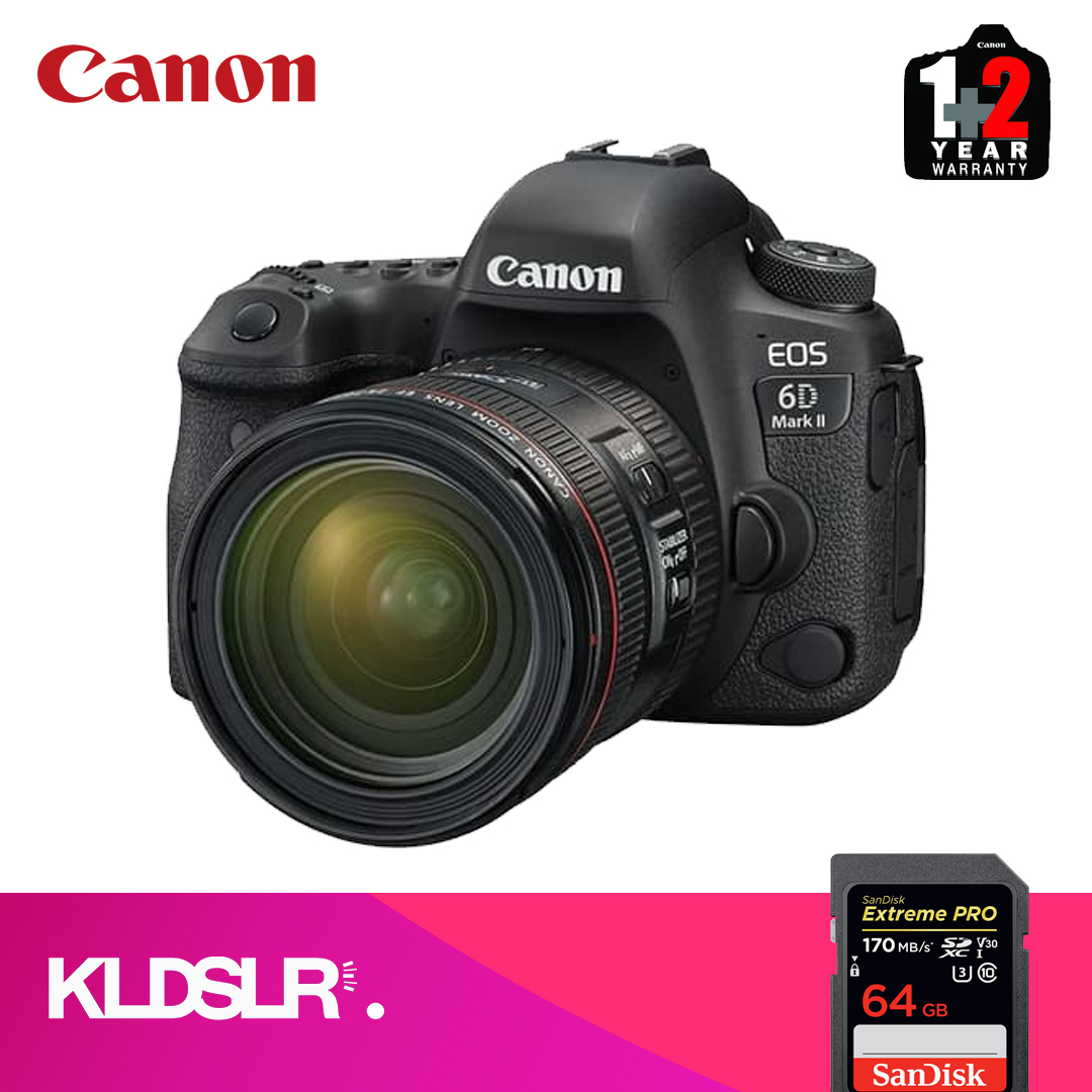 Canon EOS 6D Mark II DSLR Camera with EF 24-70mm Lens (Canon Malaysia) (FREE 64GB High Speed Memory Card) (6DII / 6D2)
