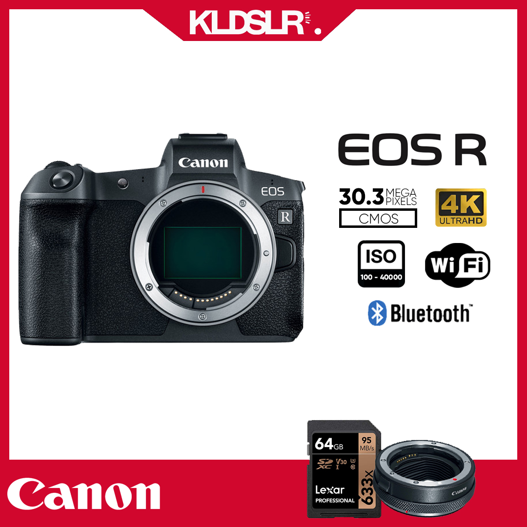 Canon EOS R  (Body Only) (New 3 Months Warranty) (FREE Canon EF-EOS R Mount Adapter & 64GB LEXAR MEMORY CARD ) (EOSR)