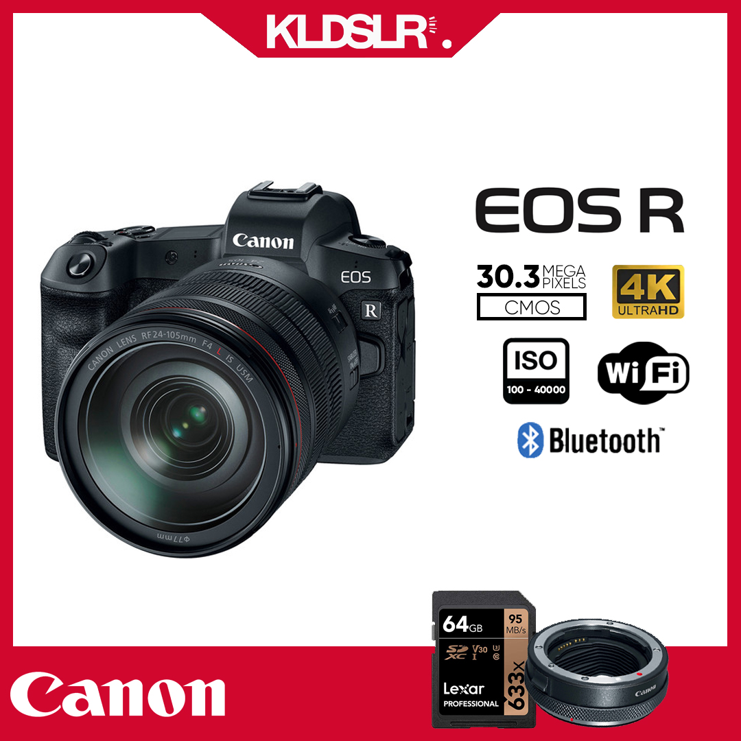 Canon EOS R  with 24-105mm Lens (NEW THREE (3) MONTH WARRANTY) (FREE Canon EF-EOS R Mount Adapter & Lexar 64GB SD Card) (EOSR)