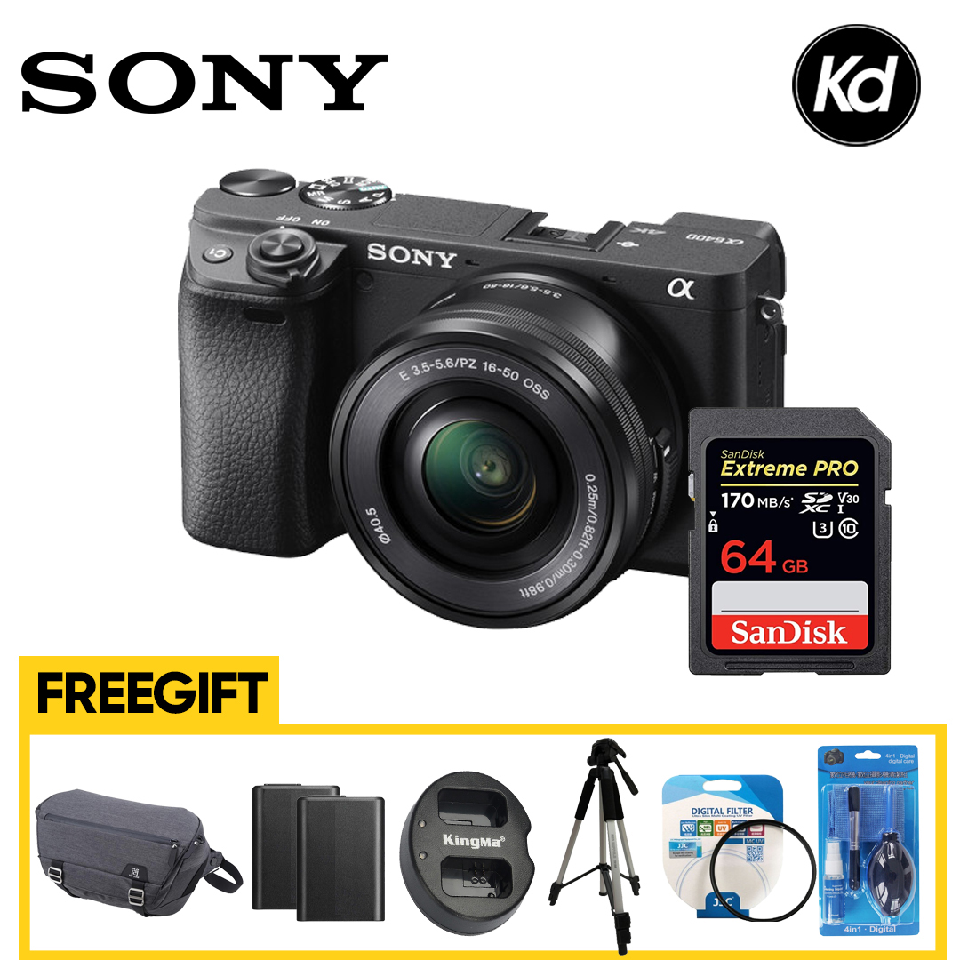 Sony a6400 with 16-50mm Lens (Sony Malaysia) (FREE 64GB , Camera bag , 2x Extra battery , Dual Charger, Tripod , Cleaning Kit , Lens Filter )